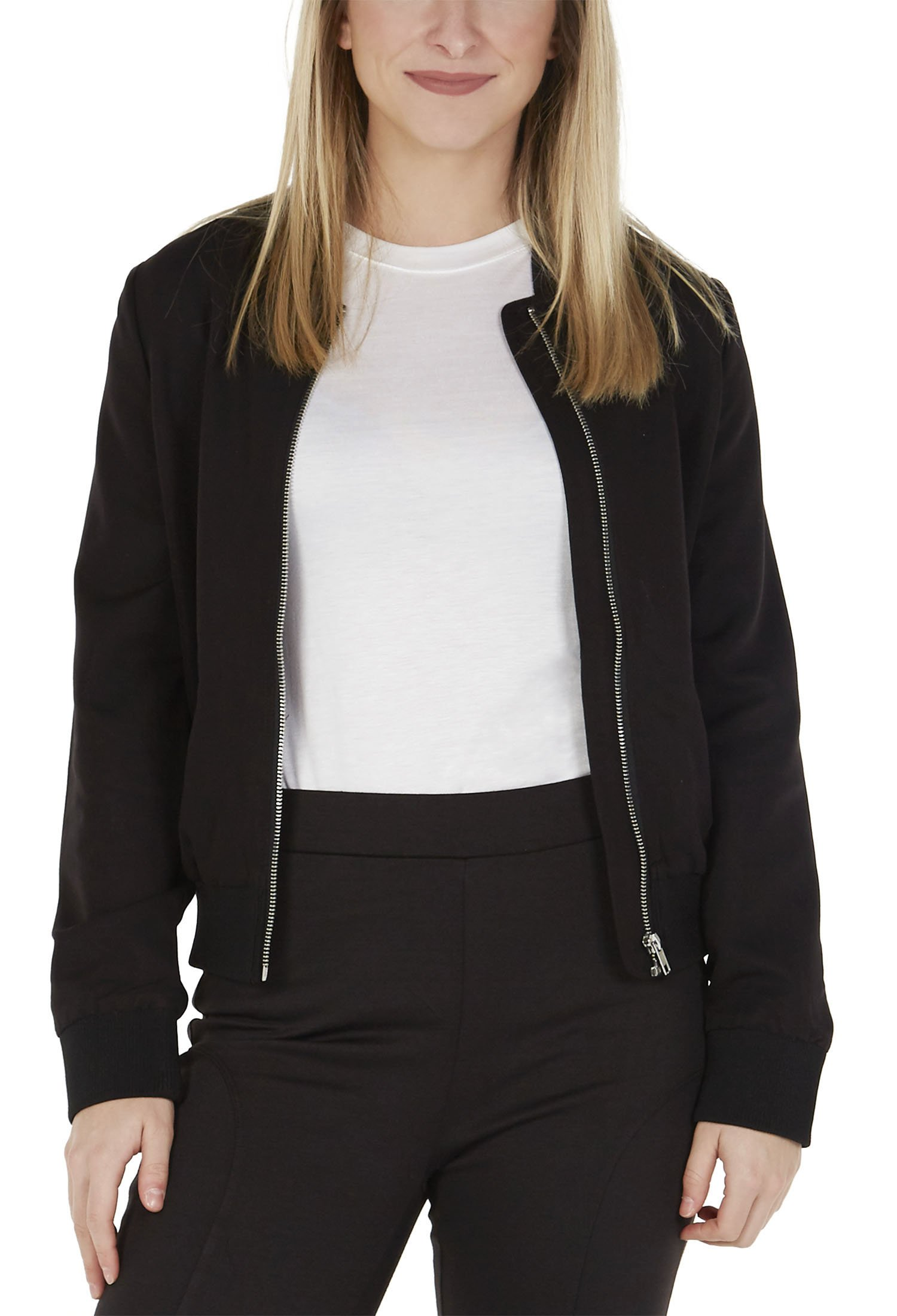 Kat & Emma Classic Style Boxy Womens Bomber Jacket with Two Front Pockets (Black, X-Small)
