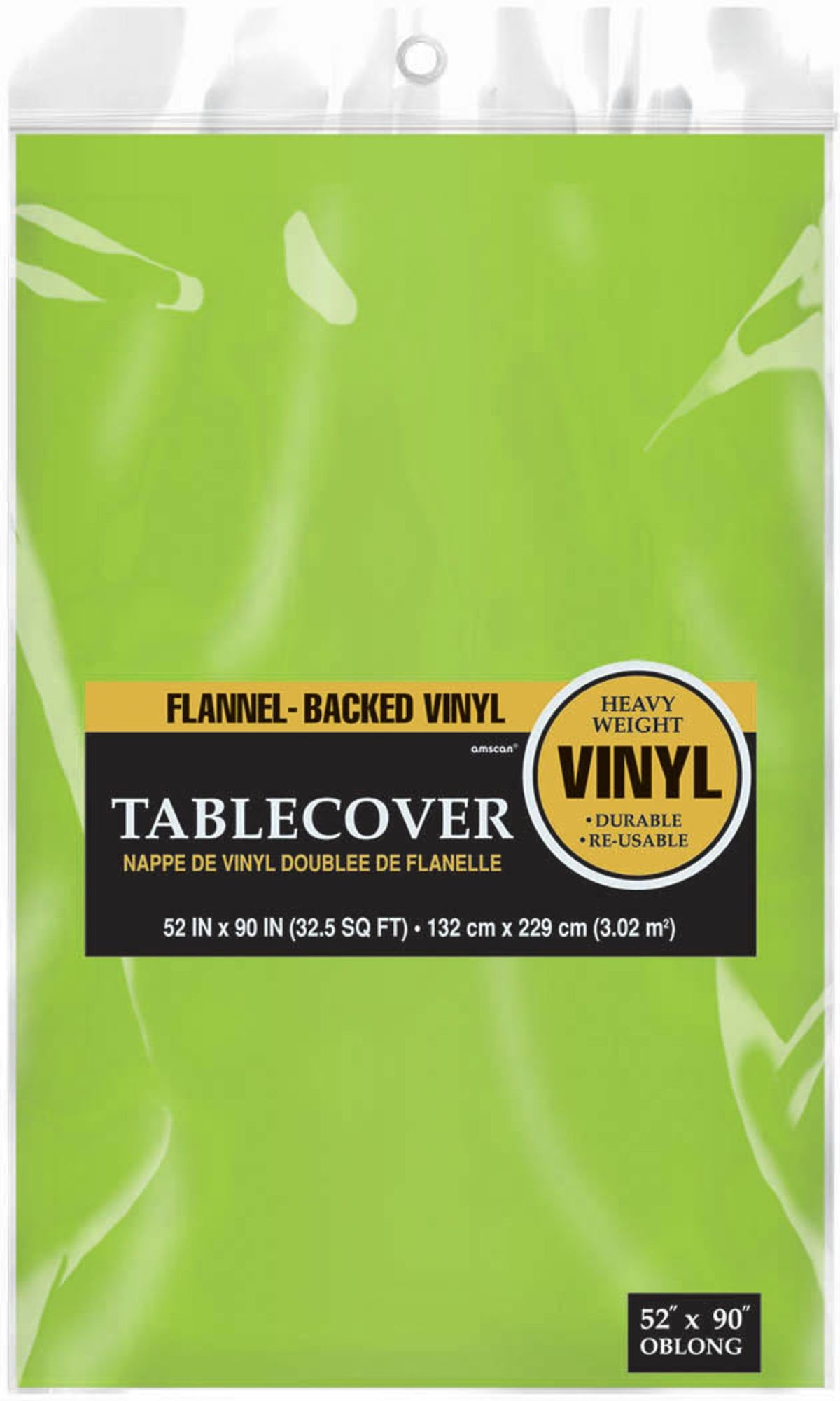 Durable Indoor / Outdoor Flannel Backed Vinyl Party Tablecover in Solid Color Tableware, Kiwi, Vinyl , 52'' x 90'' by Amscan