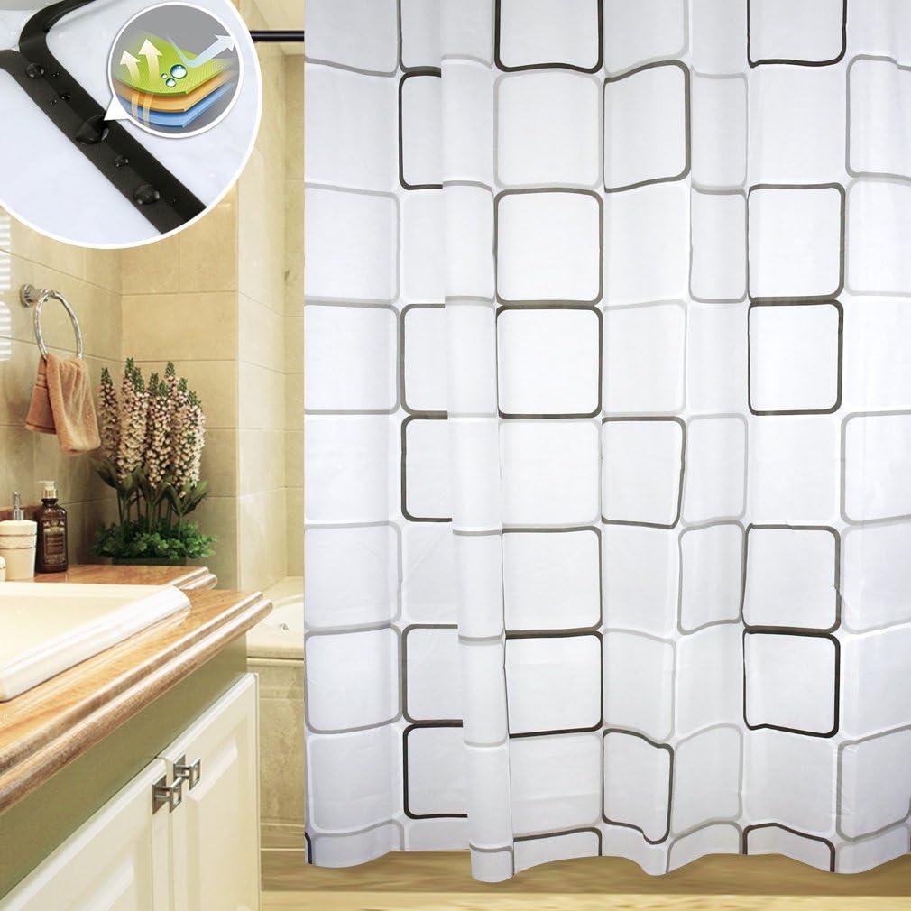 Cortina de la ducha Auralum de bañera para mampara de ducha bañera de anillos de cortina de ducha de cortina cortinas de cortina de ducha de 180 x 200 cm: Amazon.es: Hogar