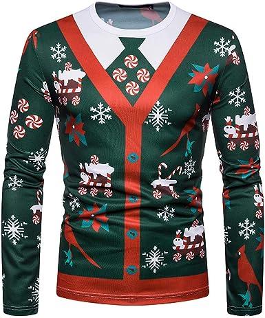 Sudaderas Hombre Camisa navideña de Hombre otoño Invierno Navidad Blusa de Manga Larga con Estampado de Camiseta para Hombre Camiseta: Amazon.es: Ropa y accesorios