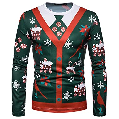 c3b8458a09 Yonlanclot Men's Christmas Tree Print Long Sleeve Top♥Men's Costume Santa  Print Holiday Humor Long Sleeve T-Shirt Xmas Top Mens Christmas/Xmas  Jumper: ...