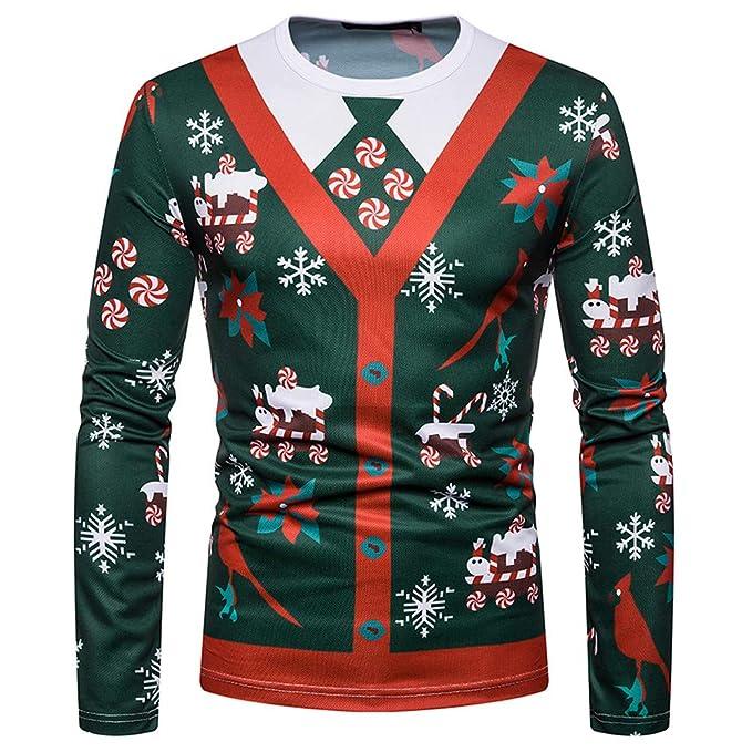 Beladla Sudadera Hombres Sin Capucha Deporte Navidad Gradiente Camiseta De Manga Larga De Manga Larga Hombres ImpresióN SóLido BáSico Blusa T - Shirt Top: ...