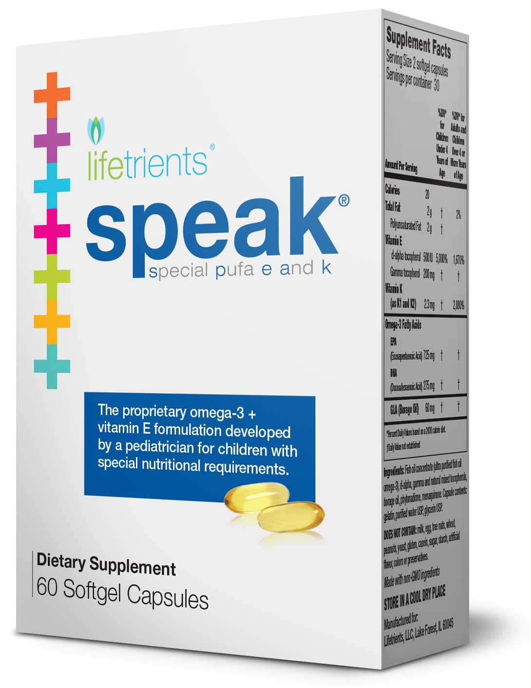 Lifetrients – Speak Softgels – 60 Softgels – Pediatrician Formulated to Support Children with Special Nutritional Requirements – Enhanced with Omega-3, Vitamin E's, Vitamin D & Vitamin K's