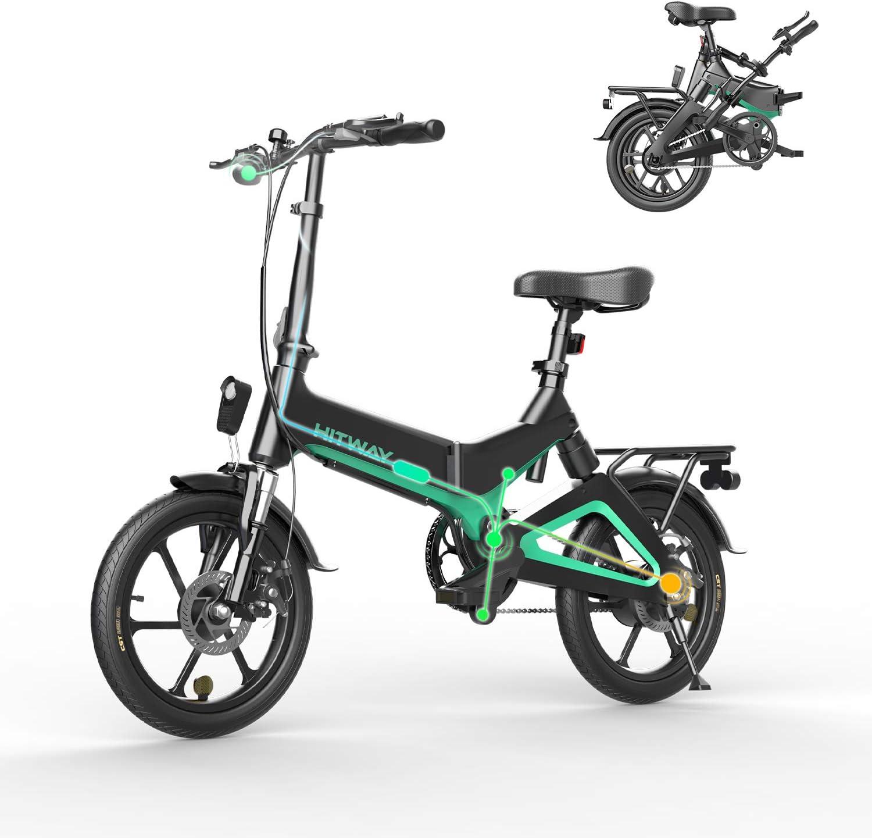 HITWAY Bicicleta eléctrica, Ligera, 250 W, Plegable, eléctrica, con Asistencia de Pedal, con batería de 7,5 Ah, 16 Pulgadas, para Adolescentes y Adultos