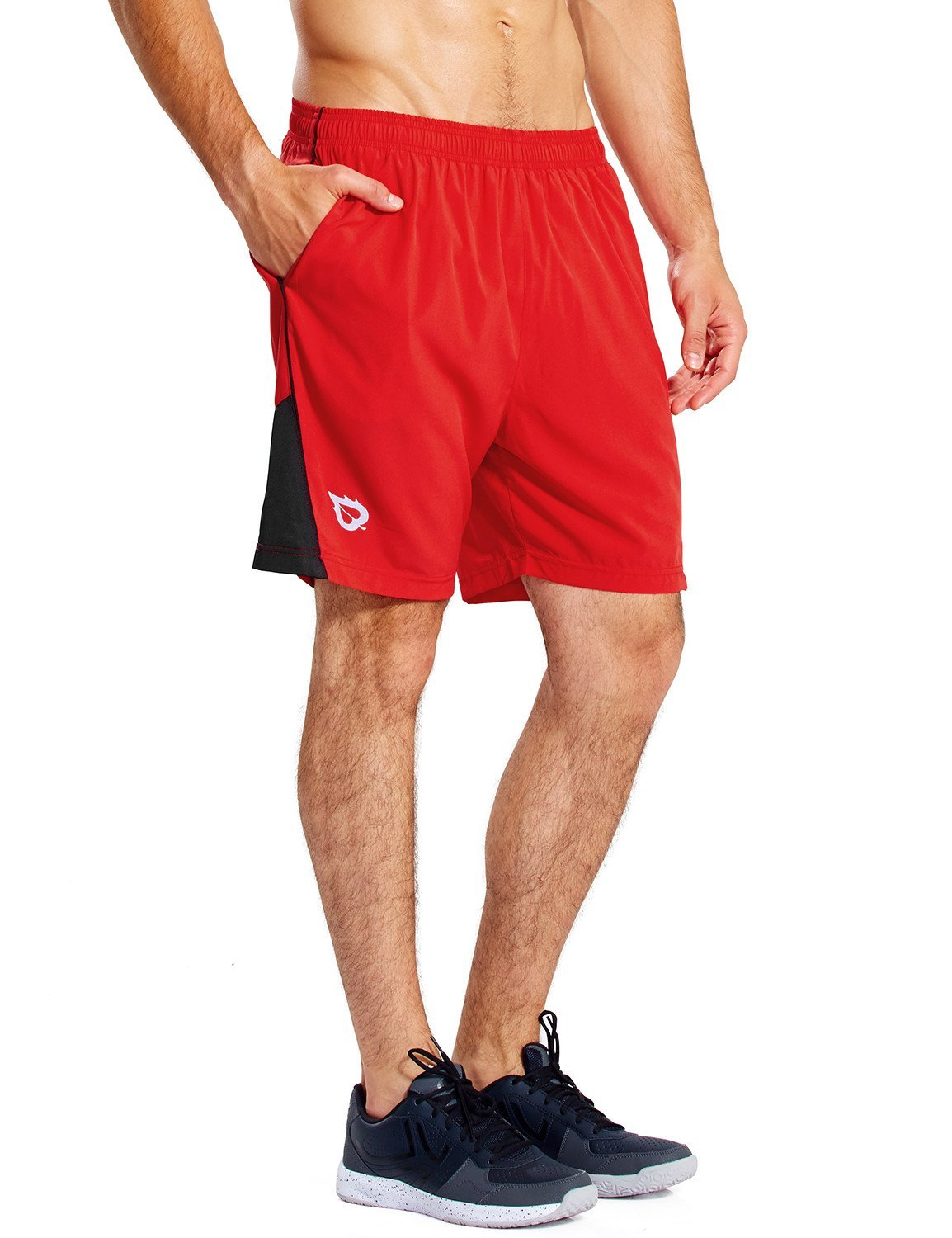 Baleaf Men's 7 Inches Quick Dry Workout Running Shorts Mesh Liner Zip Pockets Red Size S