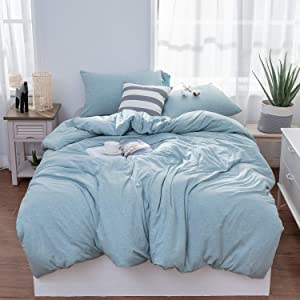 LIFETOWN Jersey Knit Cotton Duvet Cover Twin, 1 Duvet Cover and 2 Pillowcases, Simple Solid Deisgn, Super Soft and Easy Care (Twin/Twin XL, Aqua Blue)