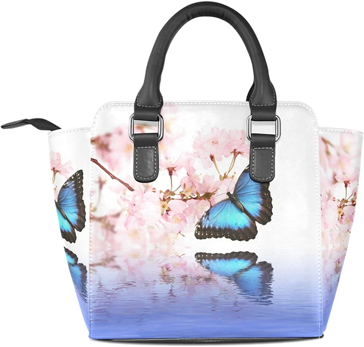 INTERESTPRINT Blooming Cherry Tree Hobo Handbags Tote Purse for Women Fashion Ladies