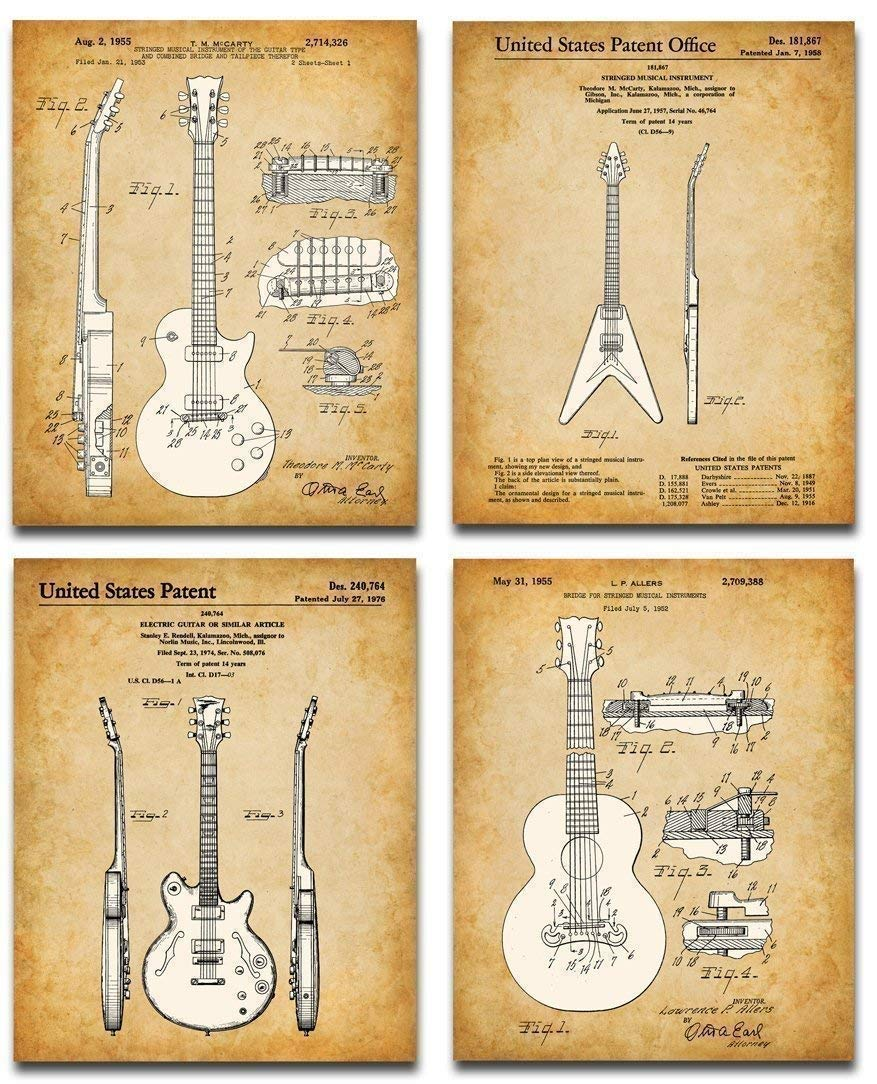 Original Gibson Guitars Patent Art Prints - Set of Four Photos (8x10) Unframed - Makes a Great Gift Under $20 for Guitar Players