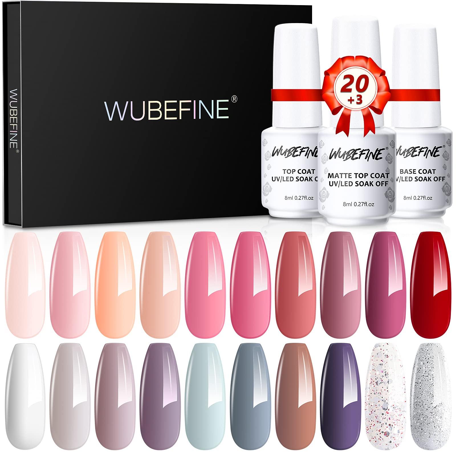 WUBEFINE 23Pcs Gel Nail Polish Kit Soak Off Gel Nail Polish Set