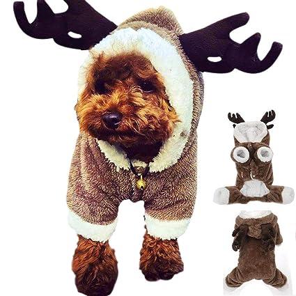 Lomire Ropa de Perros Pequeños para Navidad, Ropa de Mascotas de Un Reno Disgraces Abrigo