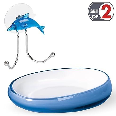 Tatkraft Badezimmer Zubehör Set: Repose Blau Dolphin Seifenschale