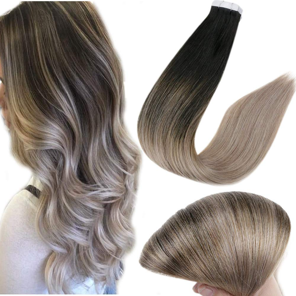 Full Shine Glue on Hair Real Human Hair Extensions Straight Hair Fashion Tape Brazilian Hair Color 1B Off Black Fading to 18 Ash Blonde 12 Inch 30g