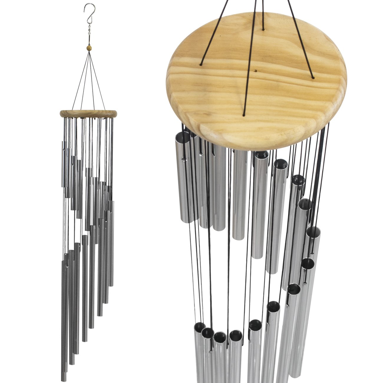 Sorbus Wind Chime – Tubular Decorative Outdoor Garden Accent with Soothing Musical Bell Sounds – Great for Front Door, Home, Deck, Patio, or Garden, Metal (Wind Chime - Silver)