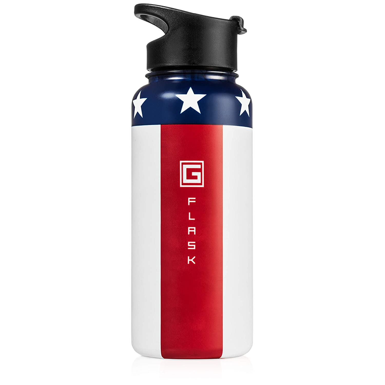 32oz Great for Hot or Cold Drinks Made from Stainless Steel and BPA-Free Flip Top Lid G-Flask Vacuum Insulated American Flag Water Bottle