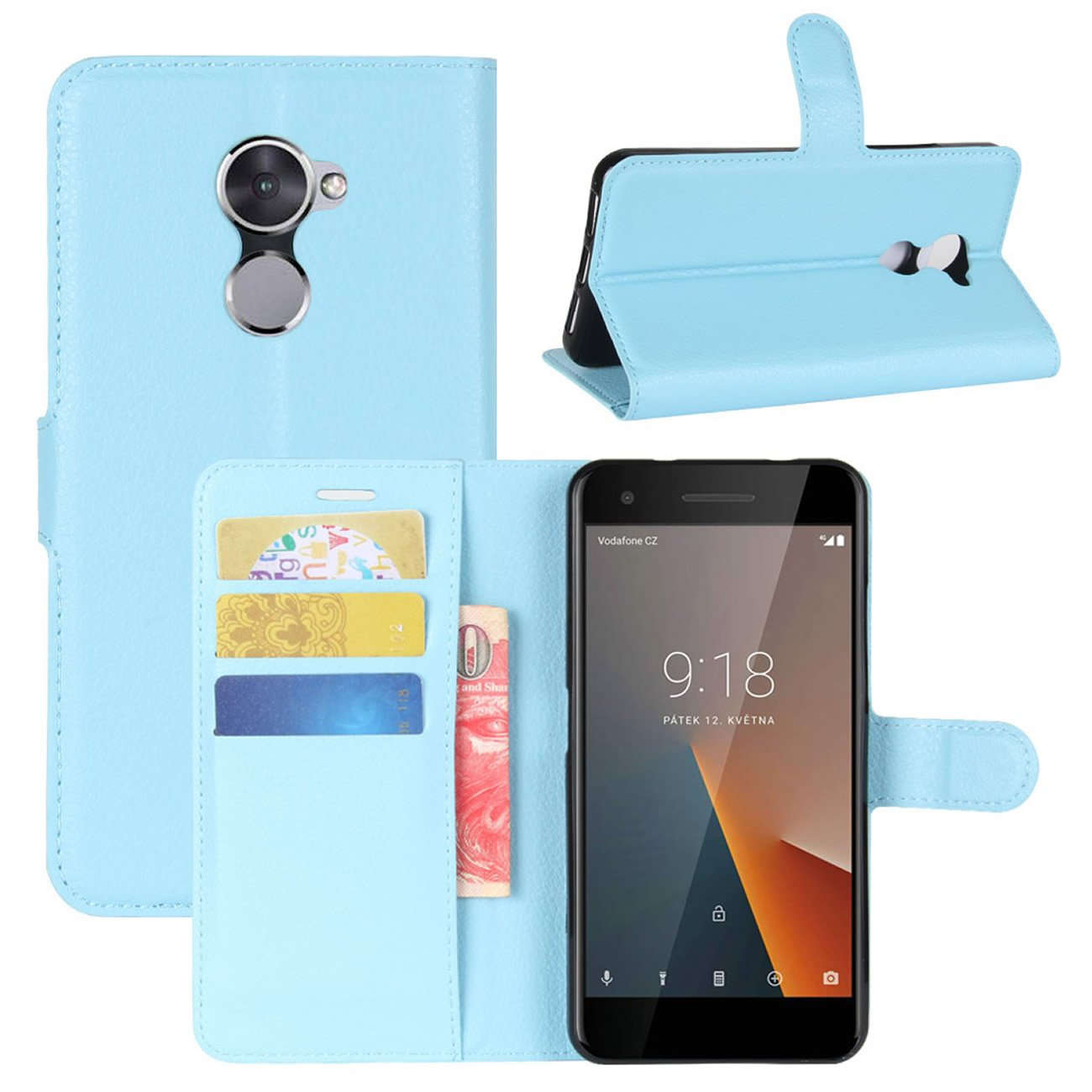 the best attitude c18ef 6ee48 HualuBro Vodafone Smart V8 Case, Premium PU Leather Wallet Flip Phone  Protective Case Cover with Card Slots for Vodafone Smart V8 Smartphone  (Blue)