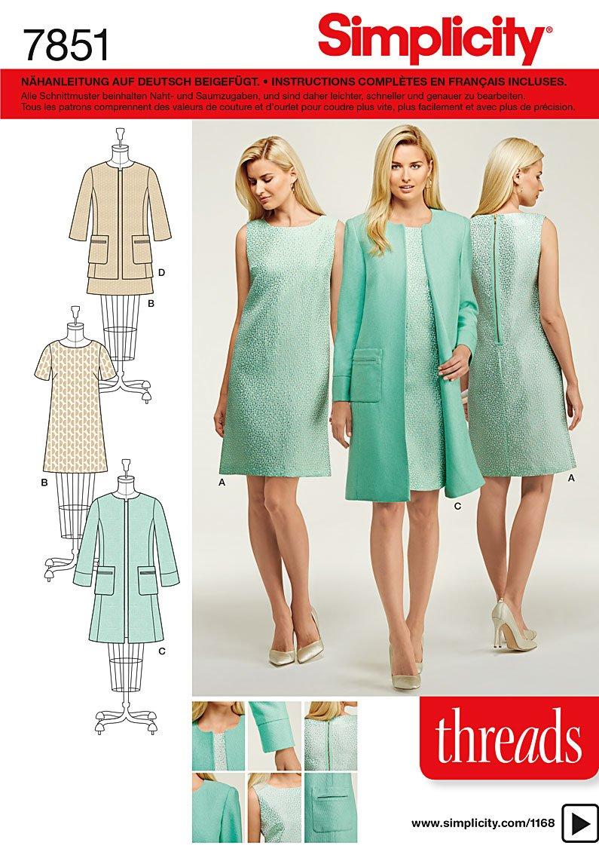 Burda Simplicity s7851.u5 –  Cartamodello per abito/giacca carta bianco 21 x 15 cm