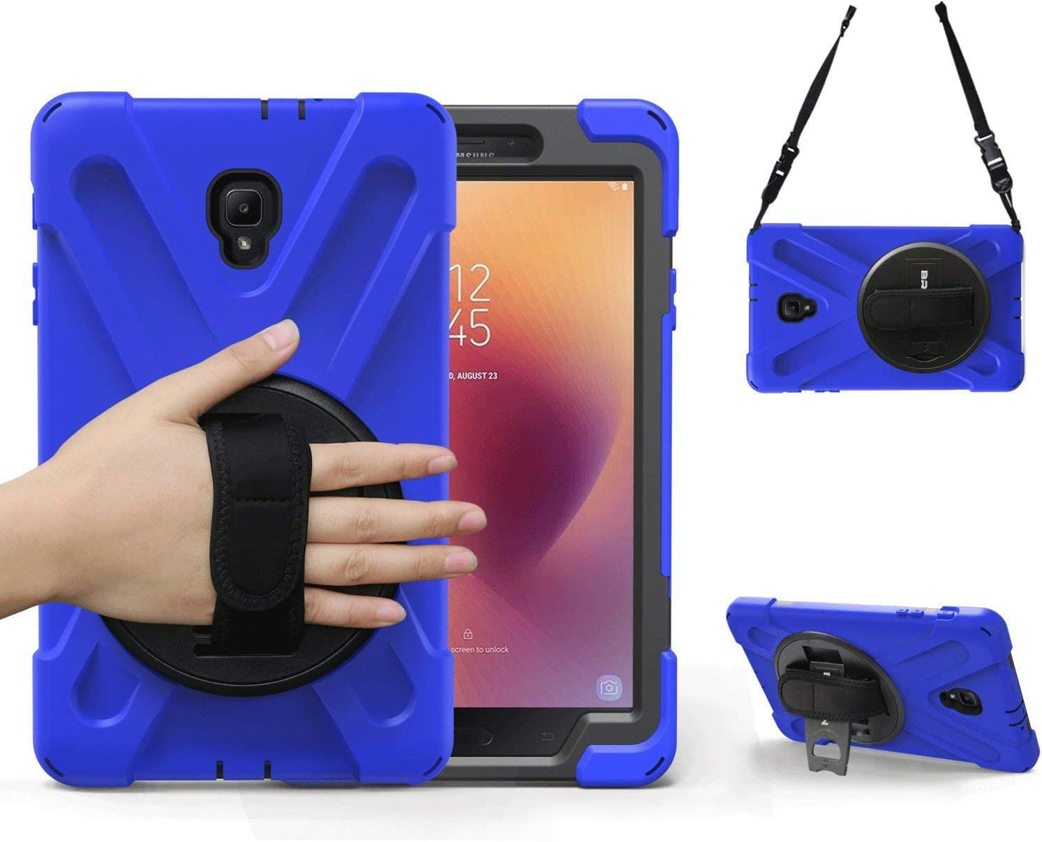 Galaxy Tab A 8.0 2017 Case, BRAECN Three Layer Drop Protection Rugged Protective Heavy Duty Tablet Case with a 360 Degree Swivel Stand/Hand Strap/Shoulder Strap for Tab 8.0 A SM-T380/T385 (Blue