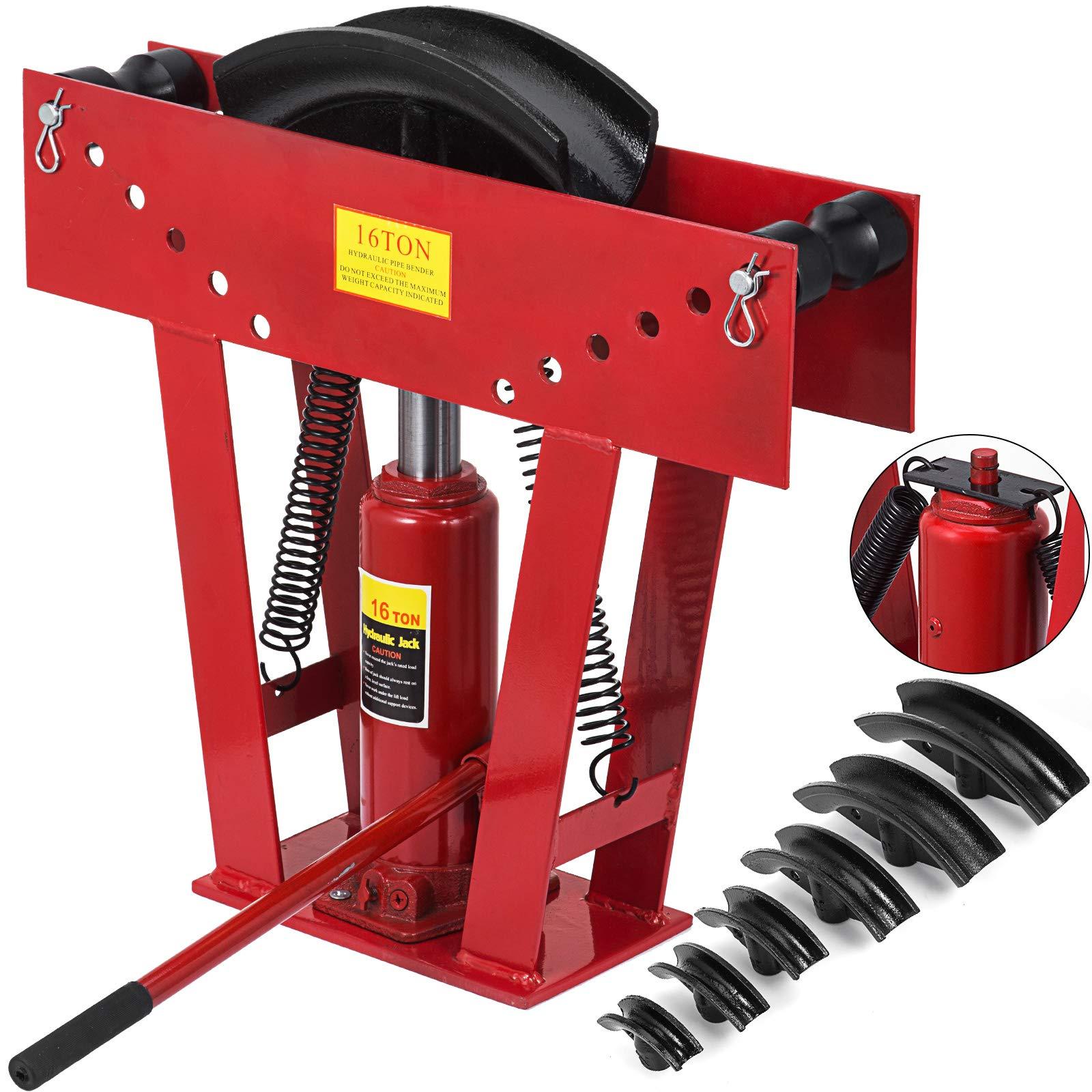Happybuy 16 Ton Exhaust Tubing Bender 1/2 Inch Square Hydraulic Hand Pump Tubing Bender Stroke 130 mm Pipe Bending Tool Steel Pipe Bender W/ 6 Dies