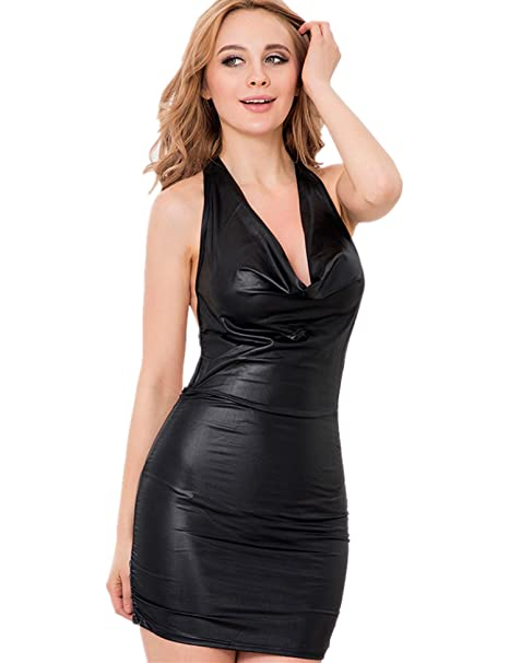 Amazon.com: ohyeah Womens Faux Leather Strappy V-Neck ...