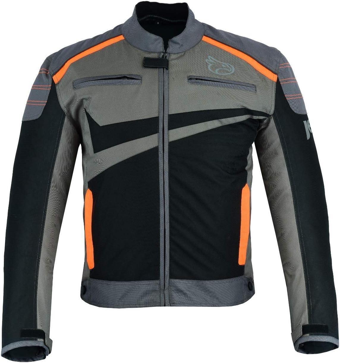 XL , Grau Orange EU 52-54 Jet Motorradjacke Motoradkleidung Rollerjacke Mopedjacke Herren Mit Sommer Protektoren Textil Leichtbau Bel/üftung Basic ESSENTIALS