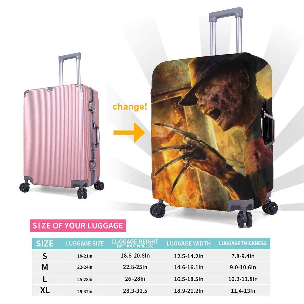 Freddy Krueger Suitcase Protector Travel Luggage Cover Fit