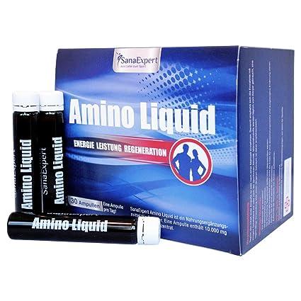 SanaExpert Amino Liquid, aminoácidos, BCAA y vitamina B6, 30 ampollas