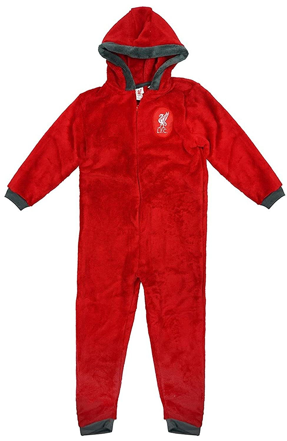 F4S® Boys Liverpool Football Club LFC Soft Luxury Fleece Zipper Sleepsuit Onesie Romper, Sizes from Ages 3-12