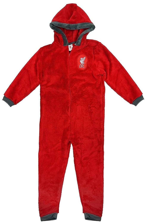 Sizes from Ages 3-12 F4S/® Boys Liverpool Football Club LFC Soft Luxury Fleece Zipper Sleepsuit Onesie Romper