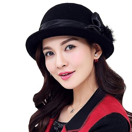 91902f294547a Amazon.com   TTjII Womens hat With flower Bucket Bell Shaped Cap 1920s  Vintage 100%Wool Felt Cloche Bucket Bowler Hat Cocktail Derby Church  Wedding Hats ...