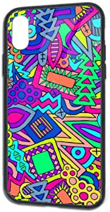 iPhone X iPhone Xs Case Tempered Glass Back Cover and Soft Silicone TPU Slim Fit Protective Case for Trendy Summer Pattern Colorful Pencil Graffiti Style iPhone X/Xs TPU Glass Phone Case
