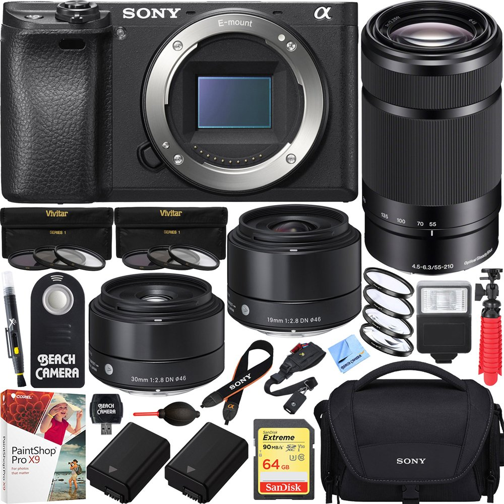 Sony Ilce 6500 A6500 4 K Mirrorless Camera (Ilce 6500) With 55 210mm Zoom Lens & Sigma 19mm & 30mm F2.8 Prime Art Lenses Triple Lens Bundle by Sony
