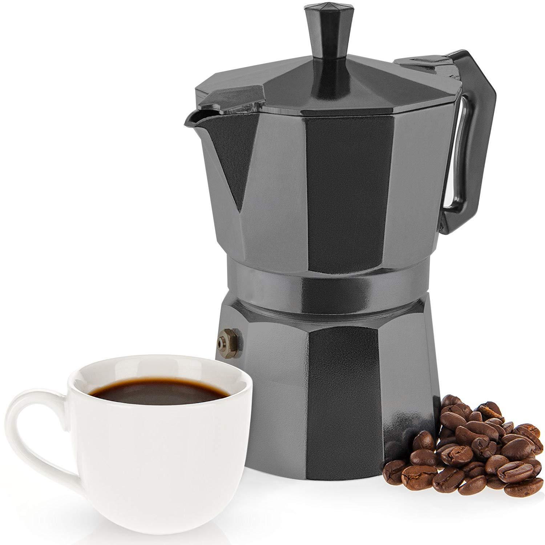 WeCook 30103 Cafetera Italiana Aluminio Inducción, Vitrocerámica y Fogón, 3 tazas, negro, Libre de BPA: Amazon.es: Hogar