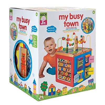 Alex Discover My Busy Town Wooden Activity Cube Kids Art and Craft Activity: Toys & Games