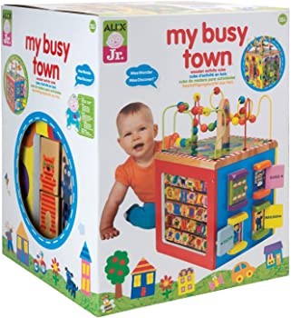 ALEX Toys Town Theme Wooden Activity Cube For Babies
