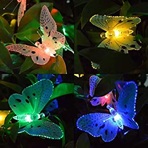 SNOMYRS Solar String Lights Outdoor 11.9Ft Fiber Optic Butterfly String Lights, Waterproof Butterfly Led Lights with 12 Led for Garden Yard Lawn Decor Patio Party Club (Multicolor)