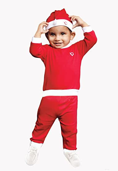 395b9a2c2518 Buy Popees Baby Care Kids Cotton Warm Christmas Dress/Santa Claus Dress/ Costume (Santa_S, Red & White, 0-3 months) Online at Low Prices in India -  Amazon.in