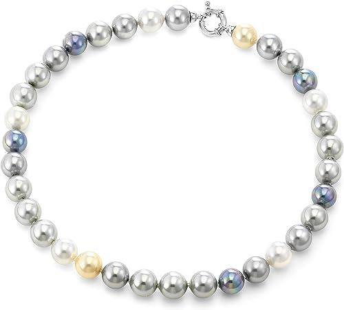 JOIA DE MAJORCA - Collar de Perlas multitonos de 12 mm con Broche de rodio Euro, lustroso, Hecho a Mano de Perlas orgánicas de Mallorca España: Amazon.es: Joyería