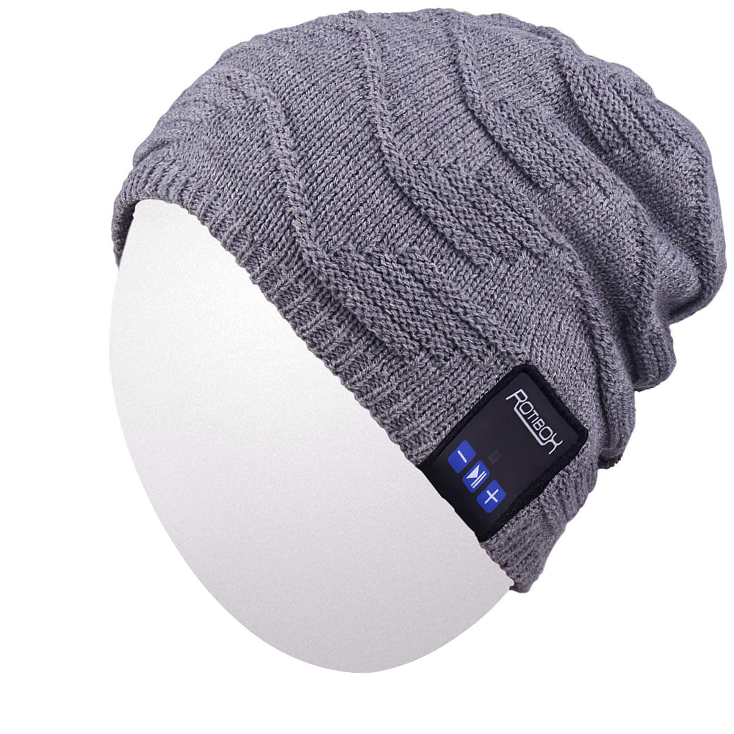 Android Cellphones Tablets iPhone Qshell Mens Womens Outdoor Bluetooth Music Beanie Hat with Stereo Speaker Headphones Microphone Hands Free and Rechargeable Battery for Cell Phones iPad