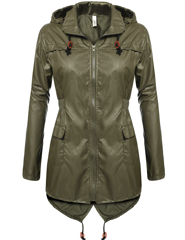 7cadb097b7e3 Amazon.com: Meaneor Women's Waterproof Raincoat Outdoor Hooded Rain Jacket  Windbreaker: Clothing