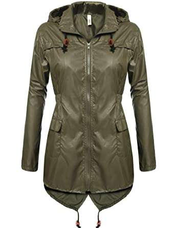 41ab69479 Meaneor Women's Waterproof Raincoat Outdoor Hooded Rain Jacket Solid_Army  Green S