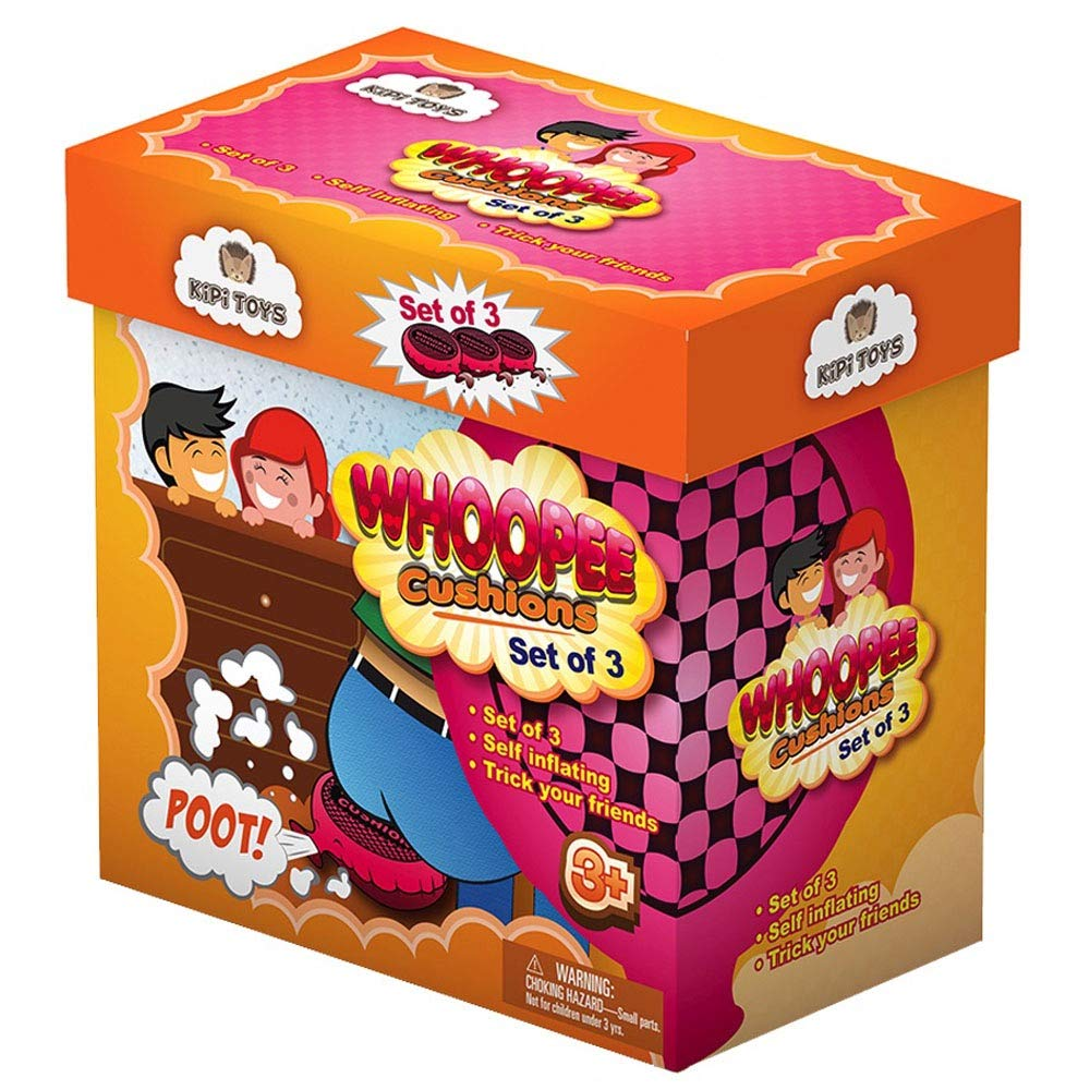"""Whoopee Cushion Self Inflated 7"""" Set of 3 Gift Box Fart Prank Gag Novelty Trick Joke Toy for Kids Children Adults Office Home or Party"""