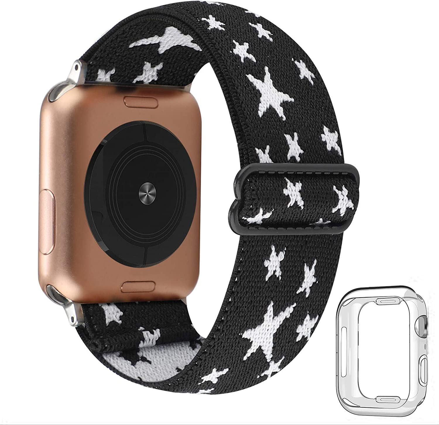 Adjustable Stretchy Solo Loop Nylon Strap Compatible with Apple Watch Elastic Band 38mm 40mm iWatch Series SE/6/5/4/3/2/1 (Black White Star with Series 6/5/4 Clear Case, 38mm/40mm)