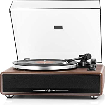 1byone High Fidelity Belt Drive Turntable with Speakers, Aux Input