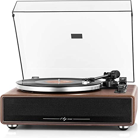 1byone High Fidelity Belt Drive Turntable with Built-in Speakers