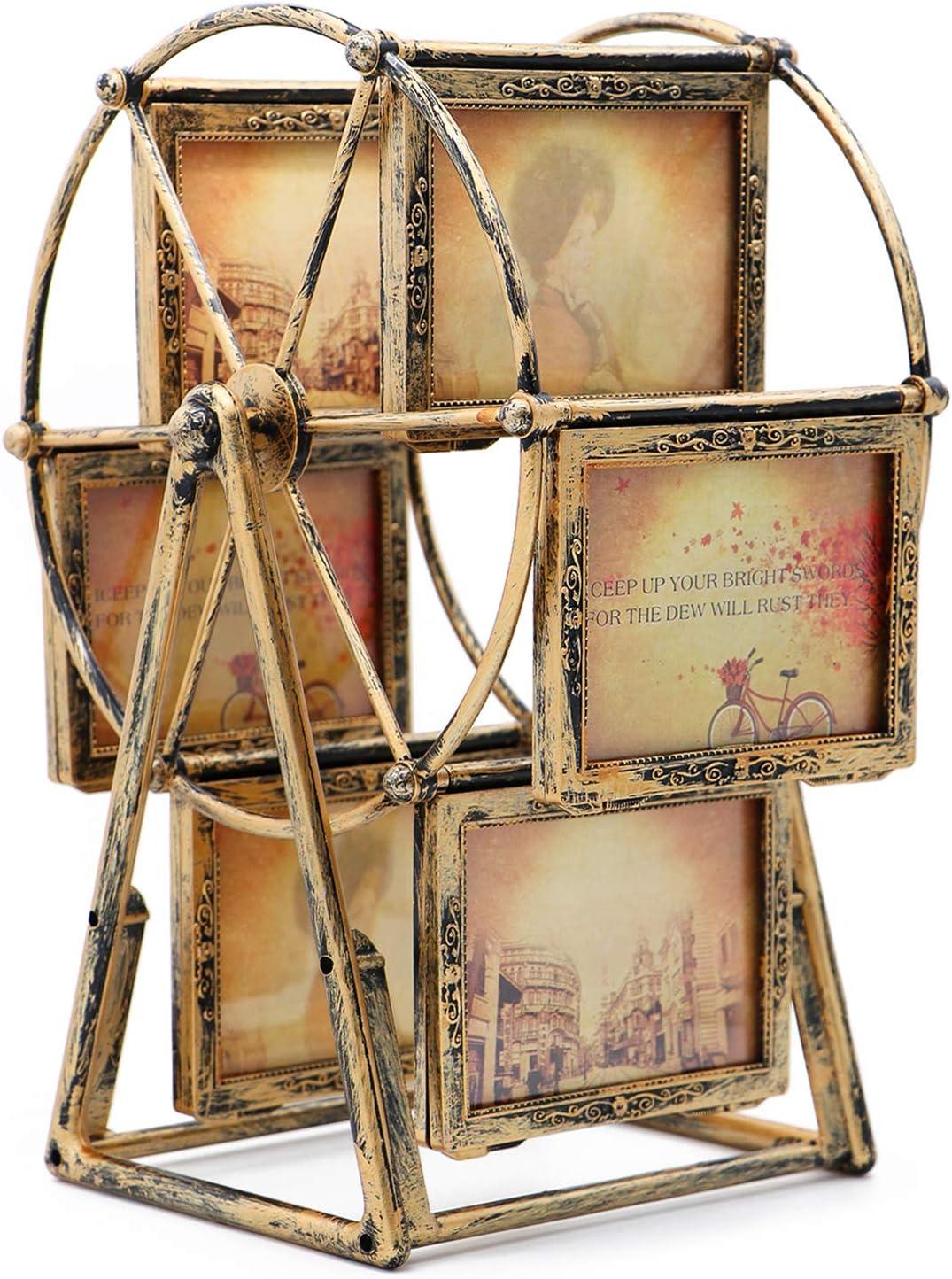 MLADEN Retro Vintage Family Photo Frame DIY Ferris Wheel Rotatable Windmill Picture Frames 5x3.5 inch Home Decor Gift Nostalgic Style (Brown)