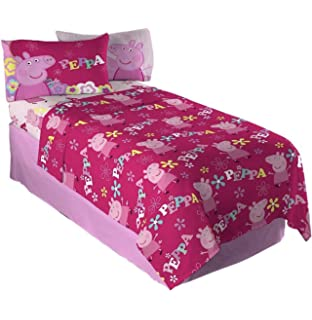 Twin Sheet Sets For Girls 3 Piece Kids Peppa Pig Microfiber Bedding Set Flat Sheet Fitted
