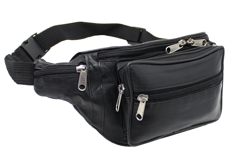 RAS Genuine Soft Black Leather Extra Large Quality Travel Waist Bum Bag Money Pouch Adjustable Belt - 1006