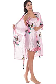 3fbd0f57aa Joy Bridalc Women s Kimono Robe Gorgeous Loungewear 2PC Set Sleepwear  Camisole   Robe