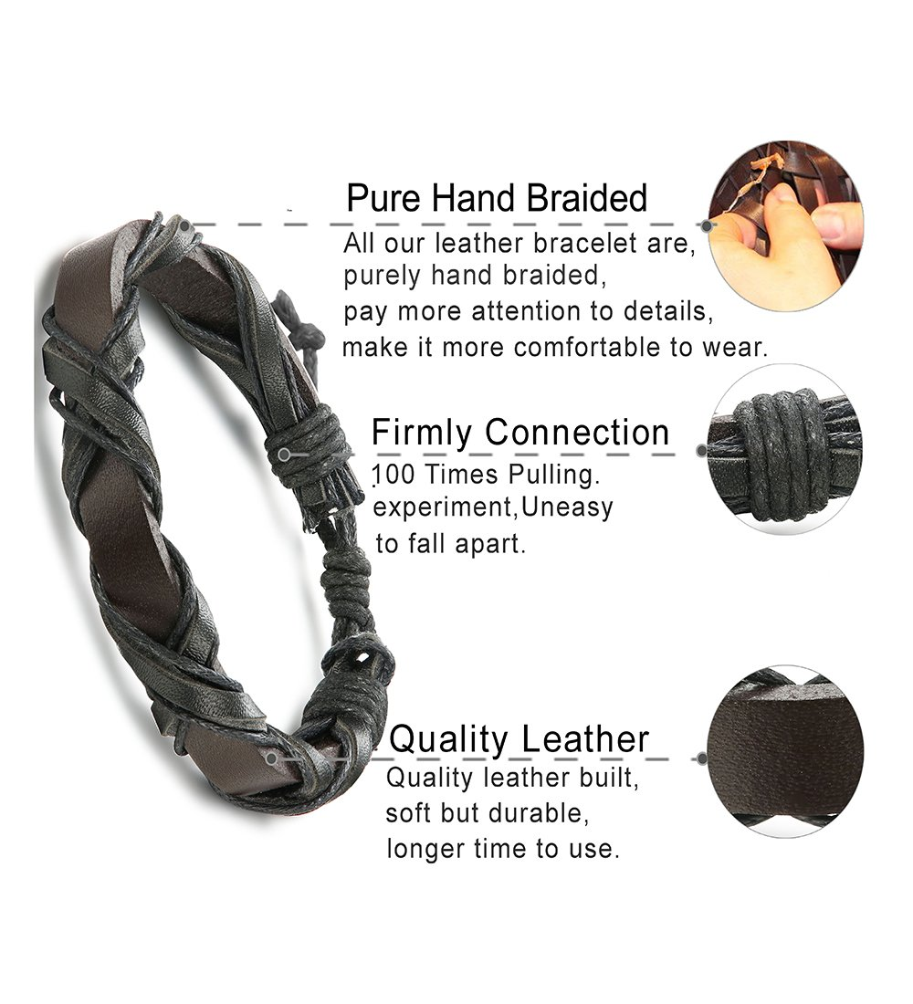 LOLIAS 24 Pcs Woven Leather Bracelet for Men Women Cool Leather Wrist Cuff Bracelets Adjustable by LOLIAS (Image #4)