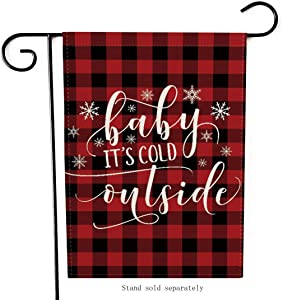 Artofy Baby It's Cold Outside Christmas Garden Flag, Decorative Xmas Outdoor Flag Sign Buffalo Check Plaid, Rustic Burlap House Yard Flag Winter Outside Decoration Holiday Home Decor Flag 12 x 18